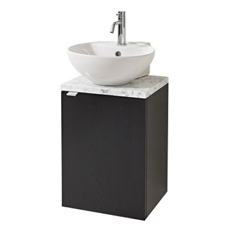 Miller - Nova 40 Wall Hung Single Door Vanity Unit with Carrara Marble Worktop & Ceramic Basin - Bla
