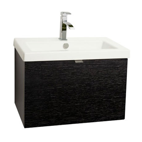 Miller - Nova 60 Wall Hung Single Drawer Vanity Unit with White Ceramic Basin - Black Large Image