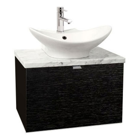 Miller - Nova 60 Wall Hung Single Drawer Vanity Unit with Carrara Marble Worktop & Ceramic Basin - Black profile large image view 1