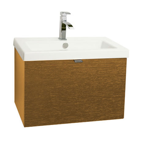 Miller - Nova 60 Wall Hung Single Drawer Vanity Unit with White Ceramic Basin - Oak Large Image