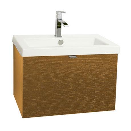 Miller - Nova 60 Wall Hung Single Drawer Vanity Unit with White Ceramic Basin - Oak