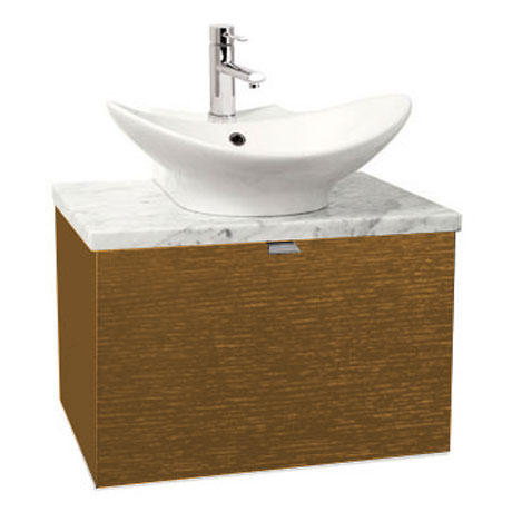 Miller - Nova 60 Wall Hung Single Drawer Vanity Unit with Carrara Marble Worktop & Ceramic Basin - Oak Large Image