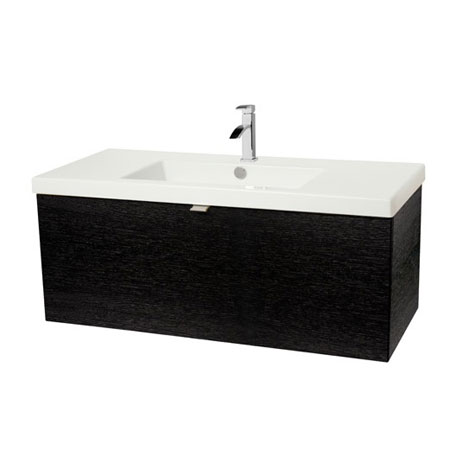 Miller - Nova 80 Wall Hung Single Drawer Vanity Unit with White Ceramic Basin - Black