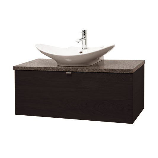 Miller - Nova 80 Wall Hung Single Drawer Vanity Unit with Granite Worktop & Ceramic Basin - Black profile large image view 1