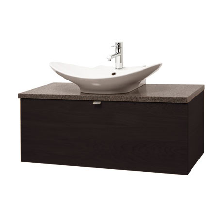 Miller - Nova 80 Wall Hung Single Drawer Vanity Unit with Granite Worktop & Ceramic Basin - Black
