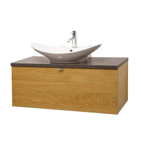 Miller - Nova 100 Wall Hung Single Drawer Vanity Unit with Granite Worktop & Ceramic Basin - Oak