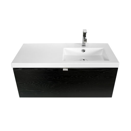 Miller - Nova 100 Wall Hung Single Drawer Vanity Unit with Right Hand White Ceramic Basin - Black profile large image view 4