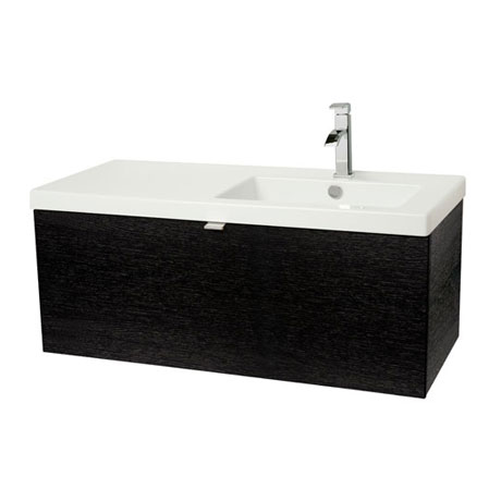 Miller - Nova 100 Wall Hung Single Drawer Vanity Unit with Right Hand White Ceramic Basin - Black
