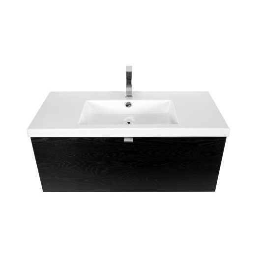 Miller - Nova 100 Wall Hung Single Drawer Vanity Unit with White Ceramic Basin - Black Standard Large Image