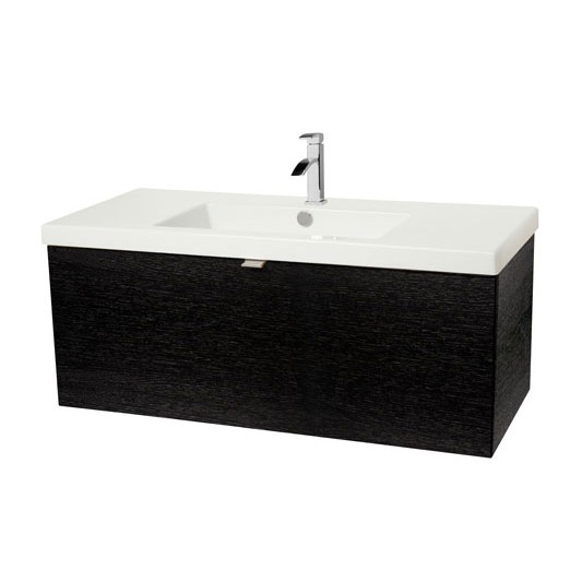Miller - Nova 100 Wall Hung Single Drawer Vanity Unit with White Ceramic Basin - Black Large Image
