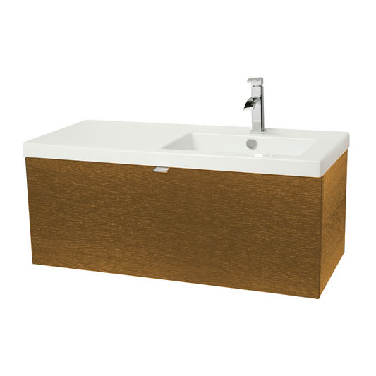 Miller - Nova 100 Wall Hung Single Drawer Vanity Unit with Right Hand White Ceramic Basin - Oak profile large image view 1