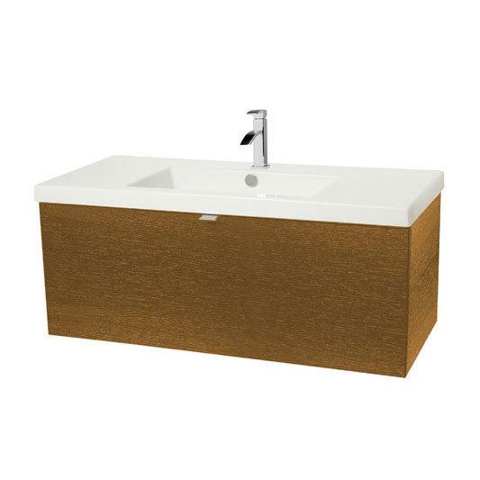 Miller - Nova 100 Wall Hung Single Drawer Vanity Unit with White Ceramic Basin - Oak Large Image