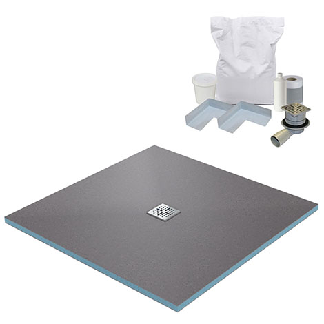 900 x 900 Wet Room Walk In Square Tray Former Kit (Centre Waste)