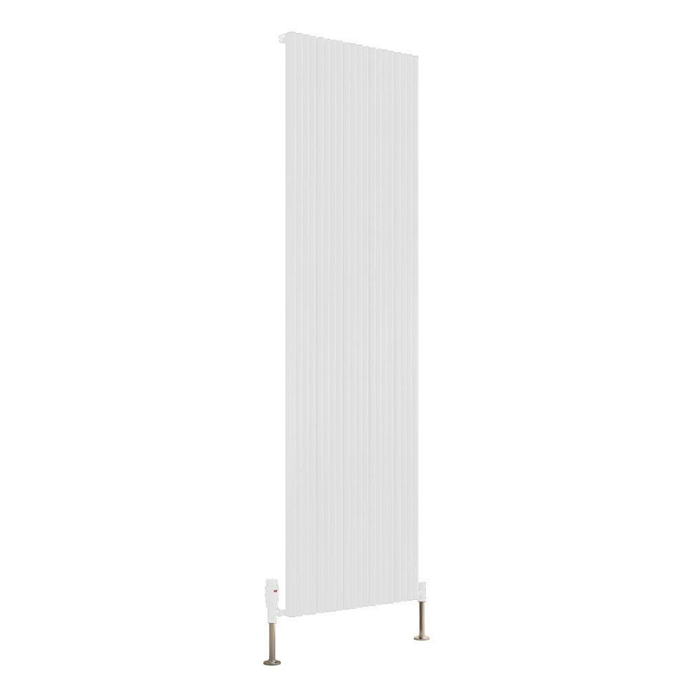 Reina Andes Vertical Single Panel Aluminium Radiator - White profile large image view 1