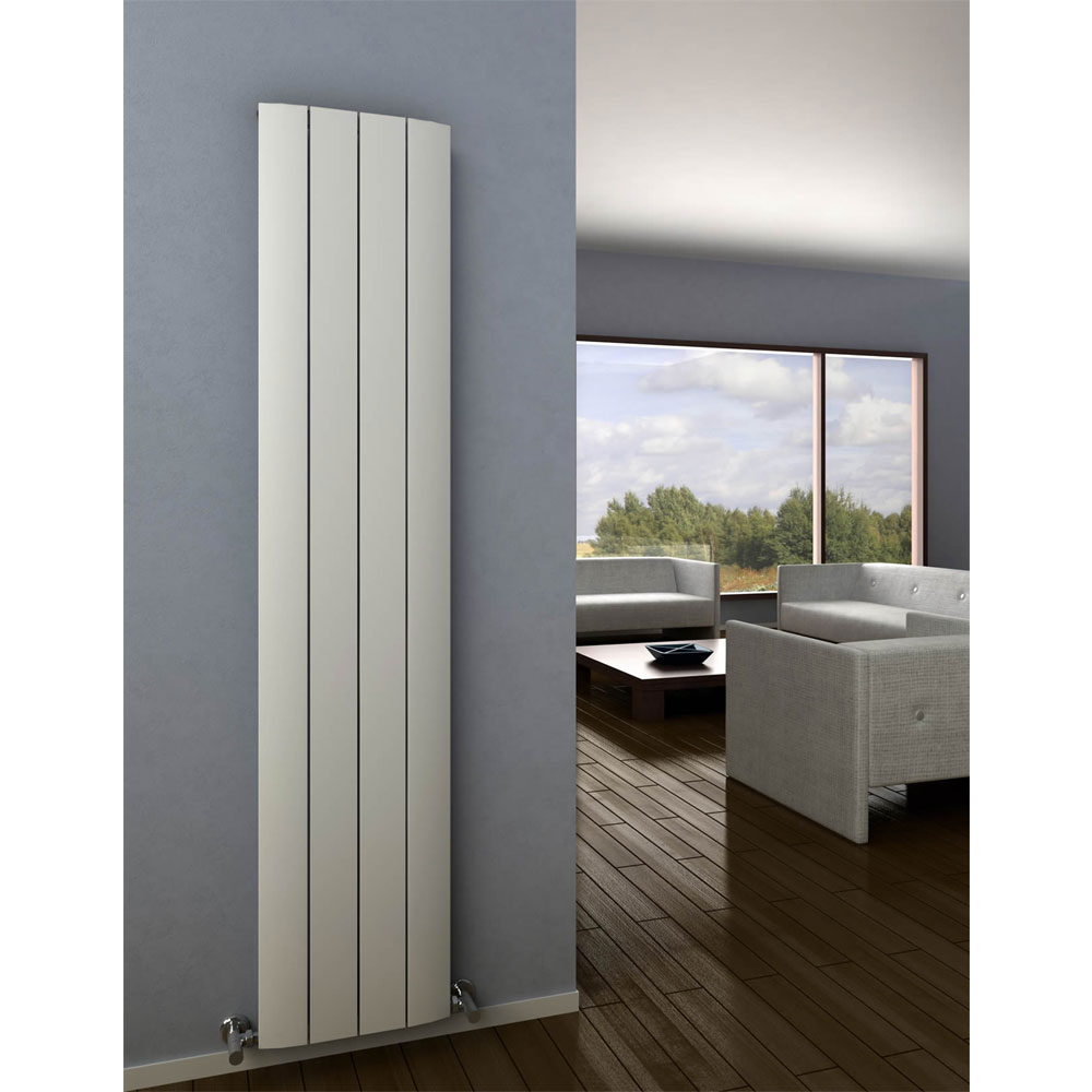 Reina Aleo Vertical Aluminium Radiator - White profile large image view 2