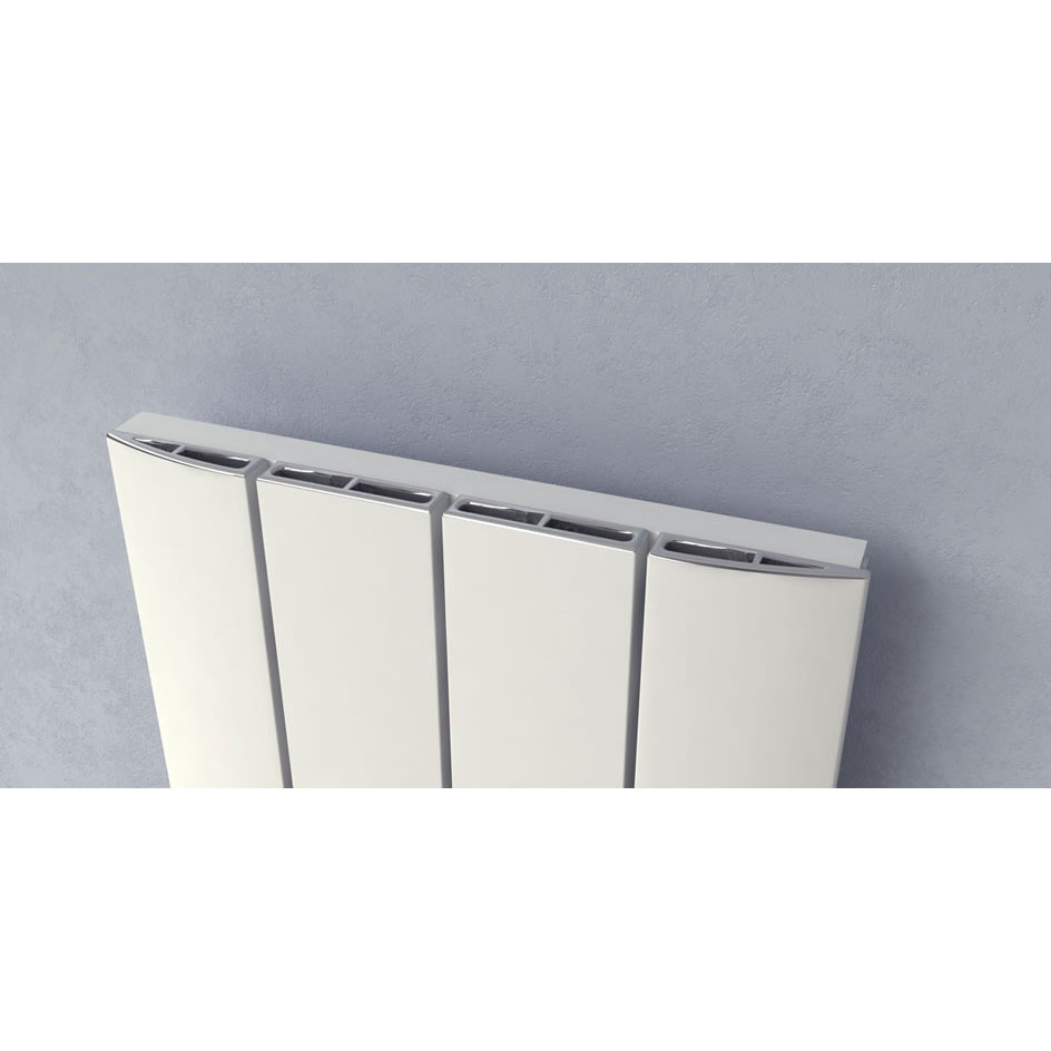 Reina Aleo Vertical Aluminium Radiator - White profile large image view 3