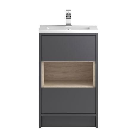 Coast 500mm Floorstanding 2 Drawer Vanity Unit with Open Shelf & Basin - Grey Gloss/Driftwood