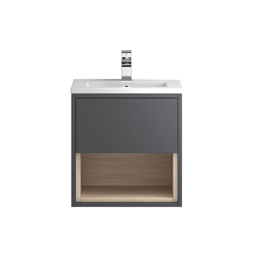 Coast 500mm Wall Mounted Vanity Unit with Open Shelf & Basin - Grey Gloss/Driftwood Large Image