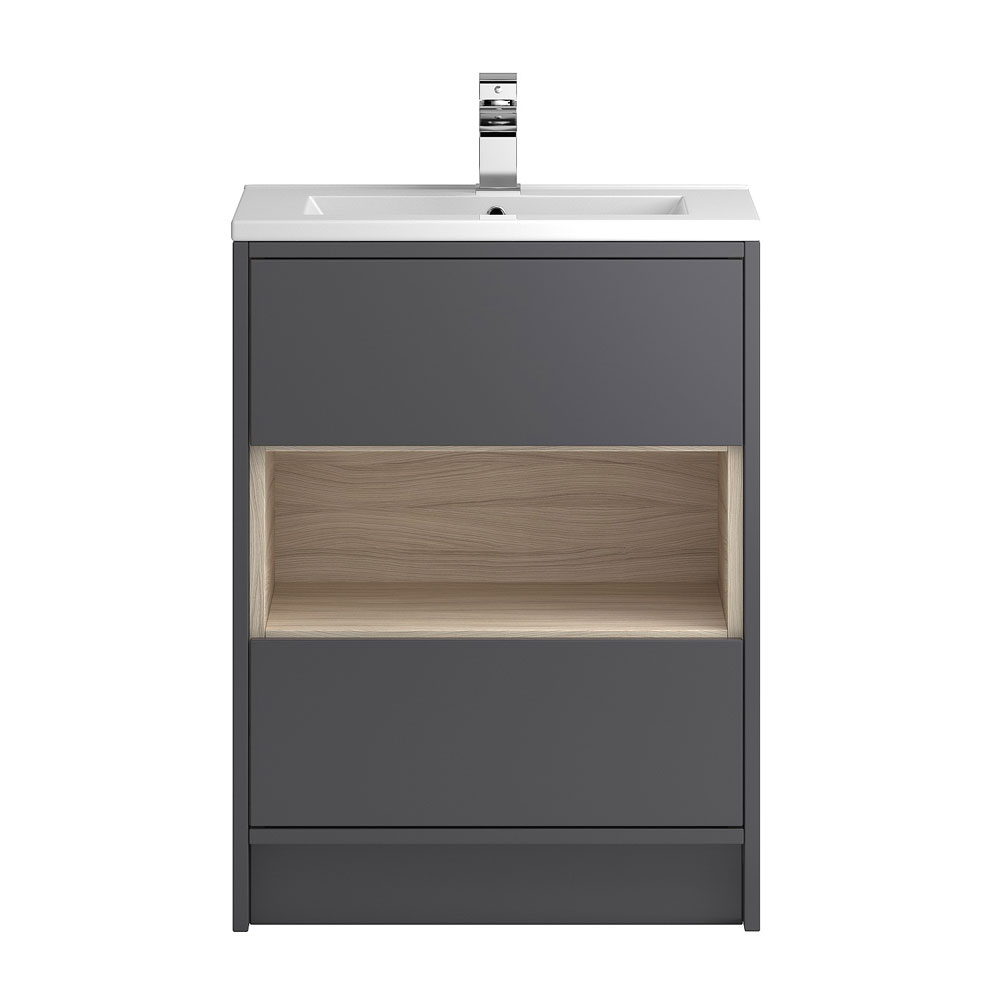 Coast 600mm Floorstanding 2 Drawer Vanity Unit with Open Shelf & Basin - Grey Gloss/Driftwood Large Image