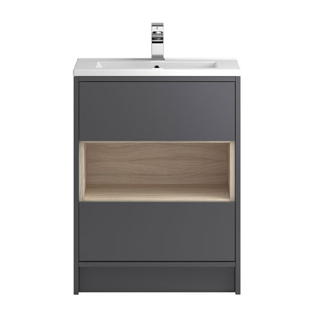 Coast 600mm Floorstanding 2 Drawer Vanity Unit with Open Shelf & Basin - Grey Gloss/Driftwood