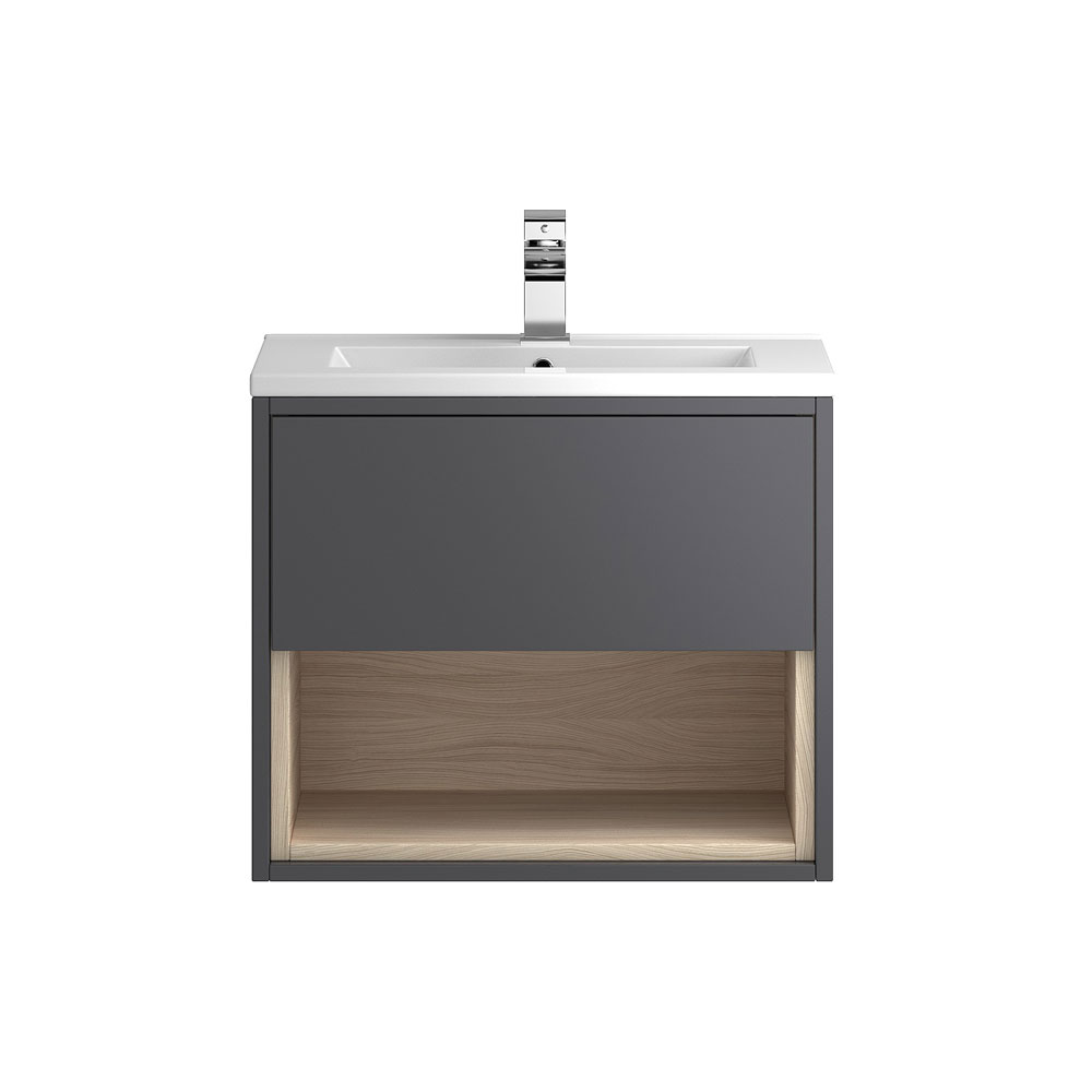 Coast 600mm Wall Mounted Vanity Unit with Open Shelf & Basin - Grey Gloss/Driftwood Large Image