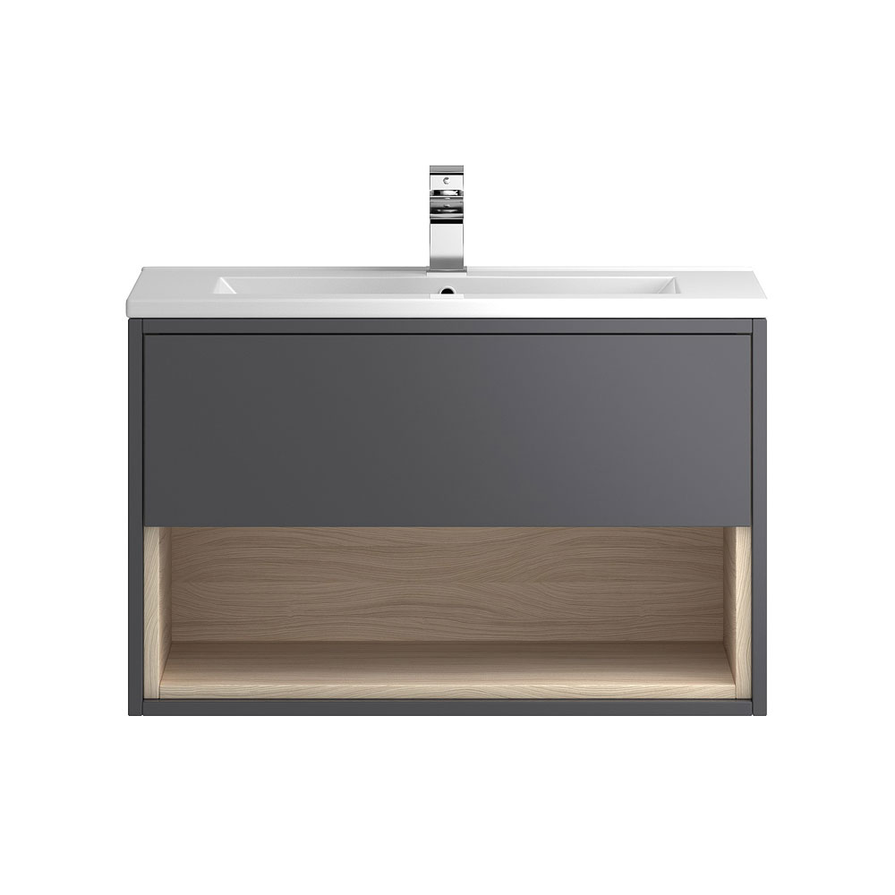 Coast 800mm Wall Mounted Vanity Unit with Open Shelf & Basin - Grey Gloss/Driftwood Large Image