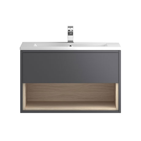 Coast 800mm Wall Mounted Vanity Unit with Open Shelf & Basin - Grey Gloss/Driftwood