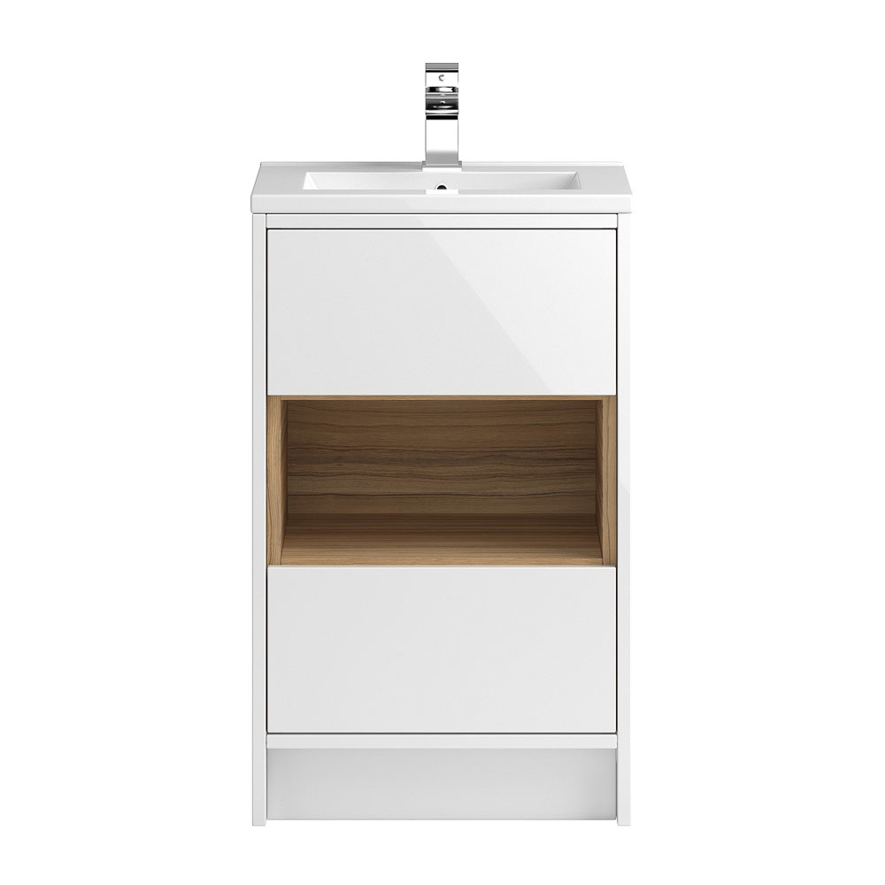Coast 500mm Floorstanding 2 Drawer Vanity Unit with Open Shelf & Basin - Gloss White/Coco Bolo Large Image