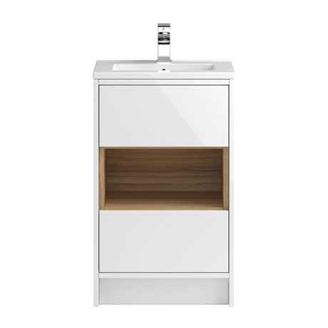 Coast 500mm Floorstanding 2 Drawer Vanity Unit with Open Shelf & Basin - Gloss White/Coco Bolo