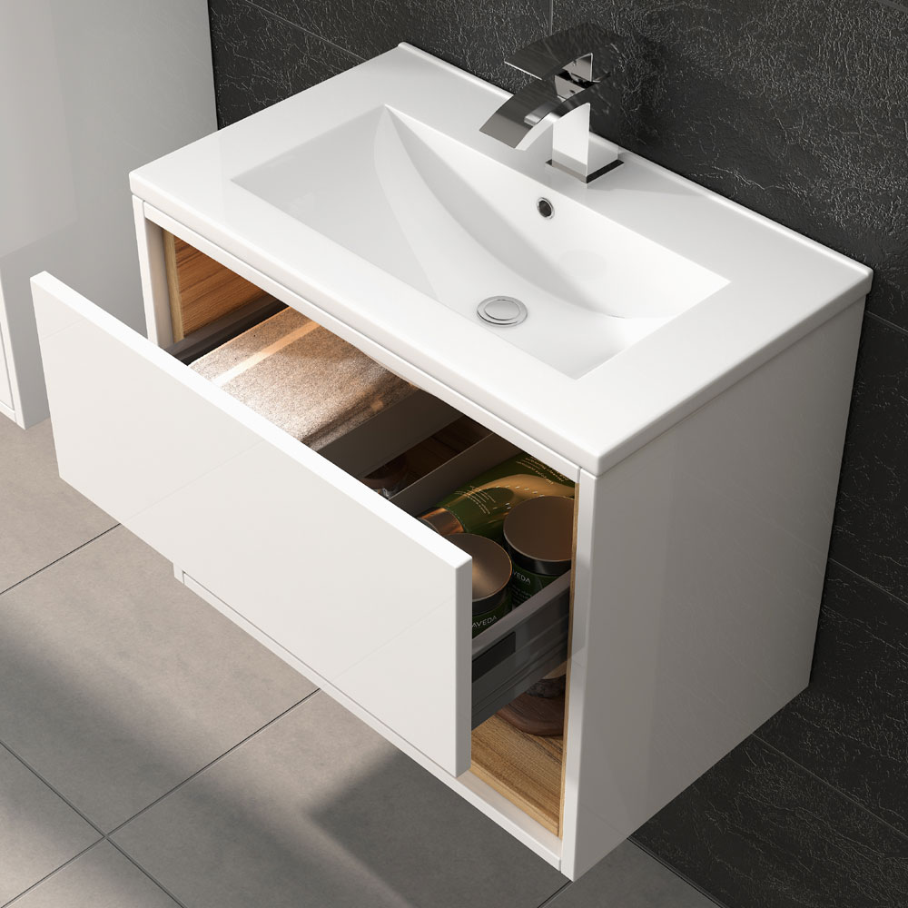 Coast 600mm Wall Mounted Vanity Unit with Open Shelf & Basin - Gloss White/Coco Bolo Profile Large Image