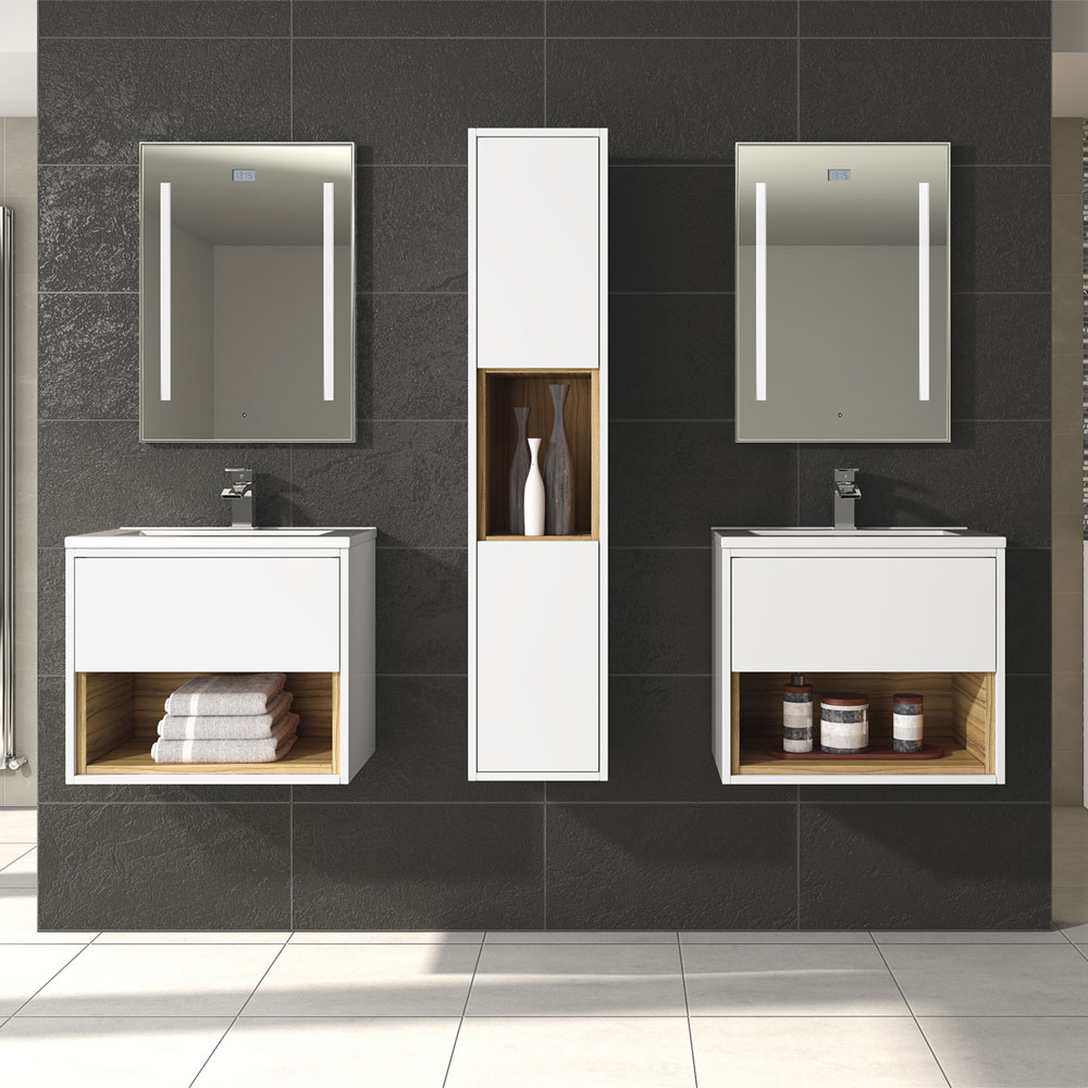 Coast 600mm Wall Mounted Vanity Unit with Open Shelf & Basin - Gloss White/Coco Bolo Feature Large Image