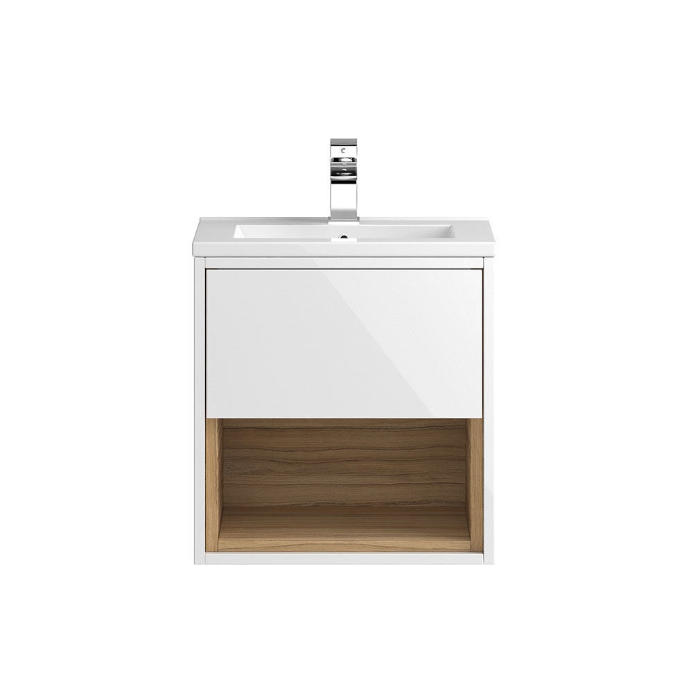 Coast 500mm Wall Mounted Vanity Unit with Open Shelf & Basin - Gloss White/Coco Bolo Large Image