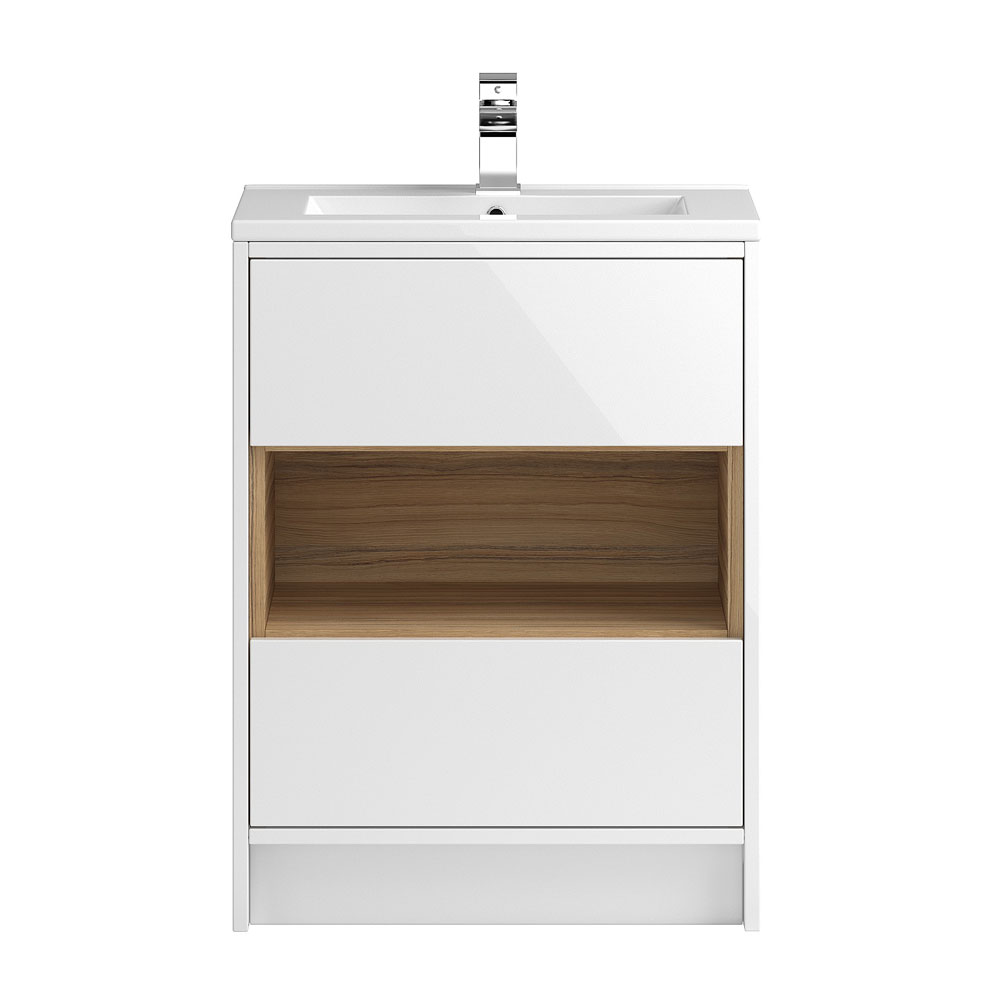 Coast 600mm Floorstanding 2 Drawer Vanity Unit with Open Shelf & Basin - Gloss White/Coco Bolo Large Image
