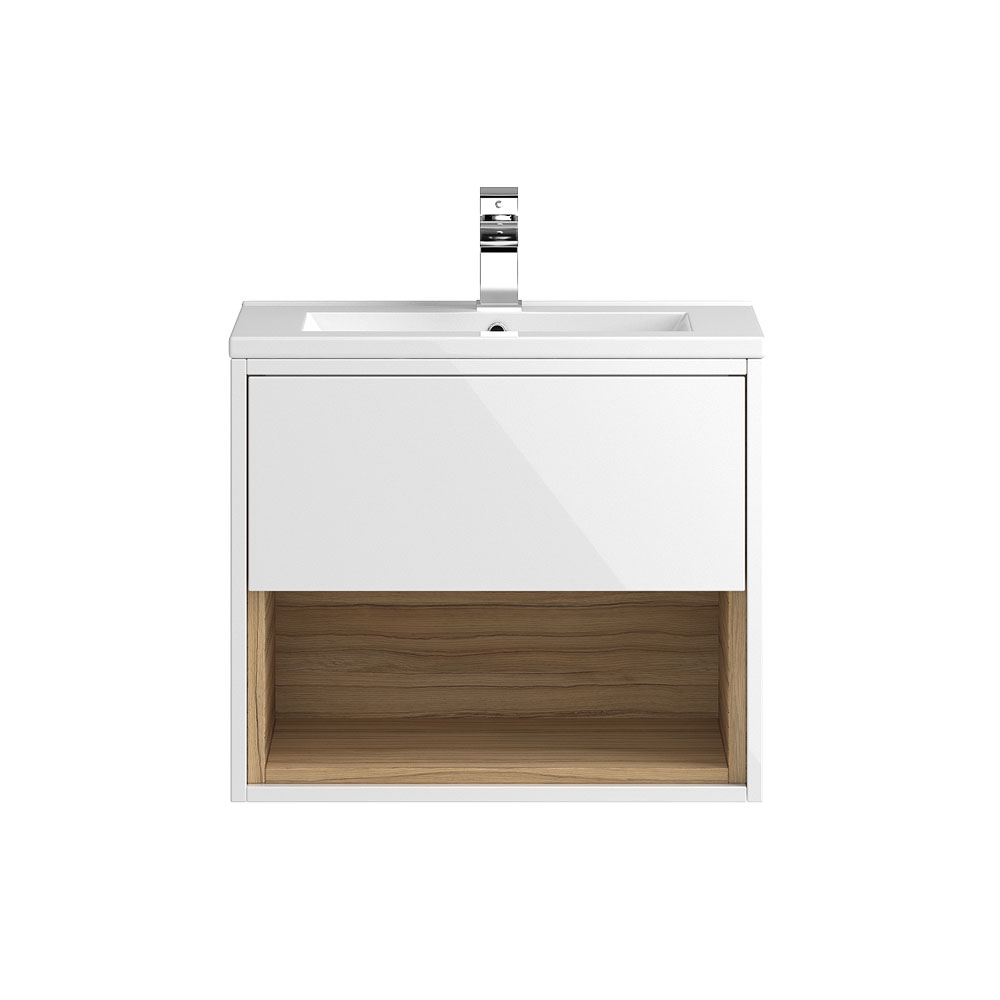 Coast 600mm Wall Mounted Vanity Unit with Open Shelf & Basin - Gloss White/Coco Bolo Large Image