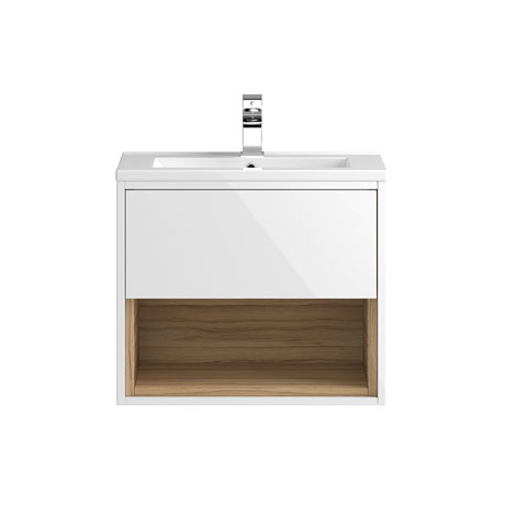 Coast 600mm Wall Mounted Vanity Unit with Open Shelf & Basin - Gloss White/Coco Bolo
