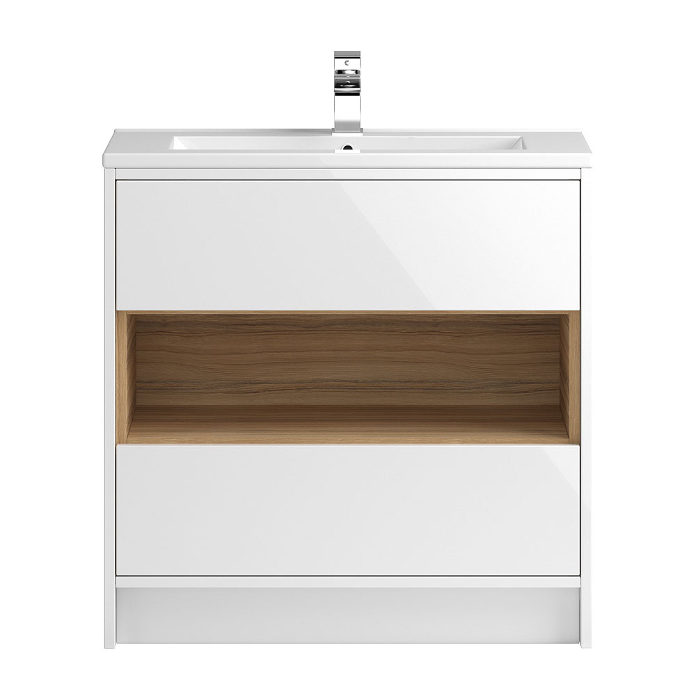 Coast 800mm Floorstanding 2 Drawer Vanity Unit with Open Shelf & Basin - Gloss White/Coco Bolo Large Image