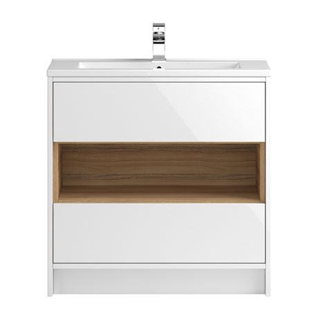 Coast 800mm Floorstanding 2 Drawer Vanity Unit with Open Shelf & Basin - Gloss White/Coco Bolo
