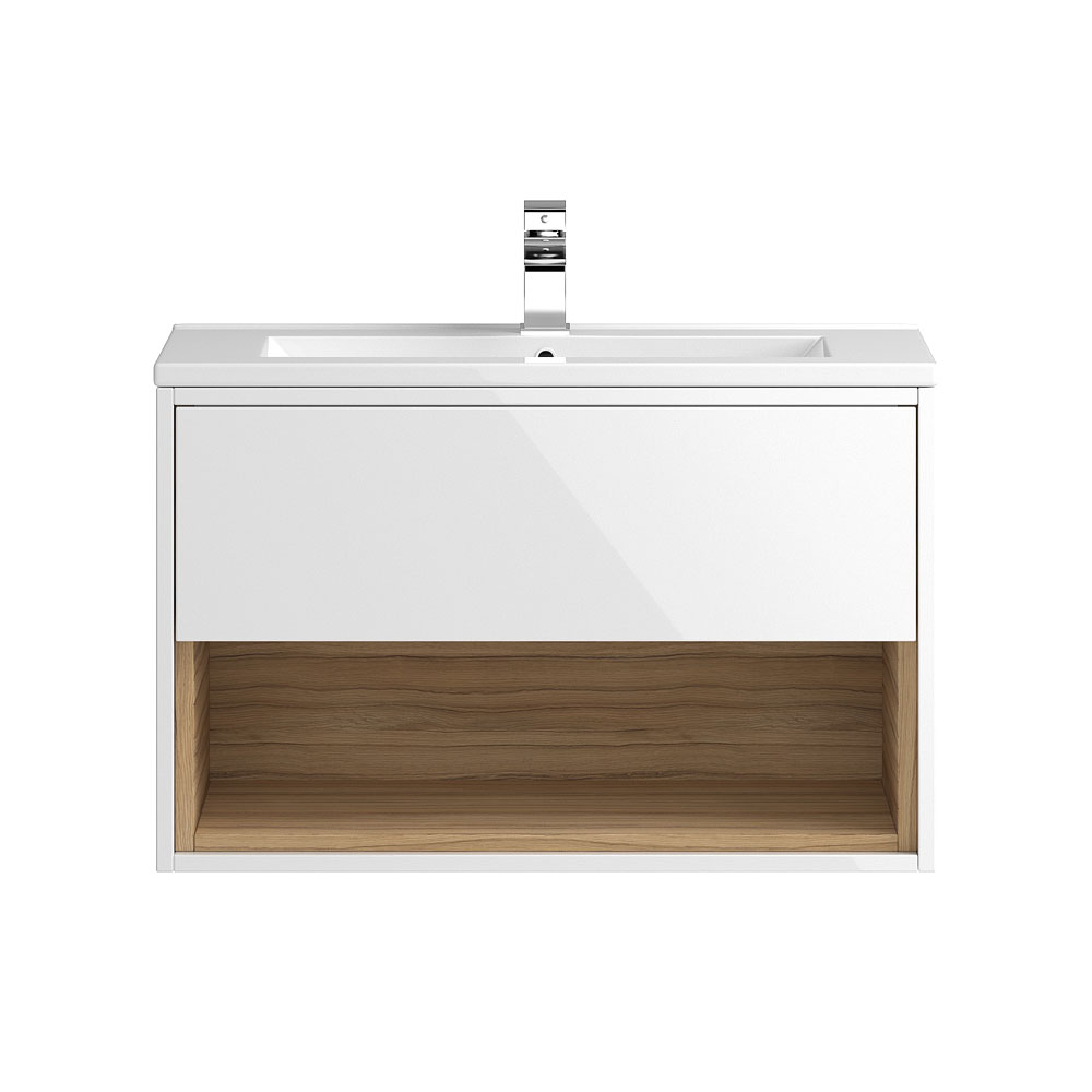 Coast 800mm Wall Mounted Vanity Unit with Open Shelf & Basin - Gloss White/Coco Bolo Large Image