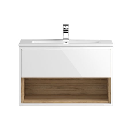 Coast 800mm Wall Mounted Vanity Unit with Open Shelf & Basin - Gloss White/Coco Bolo