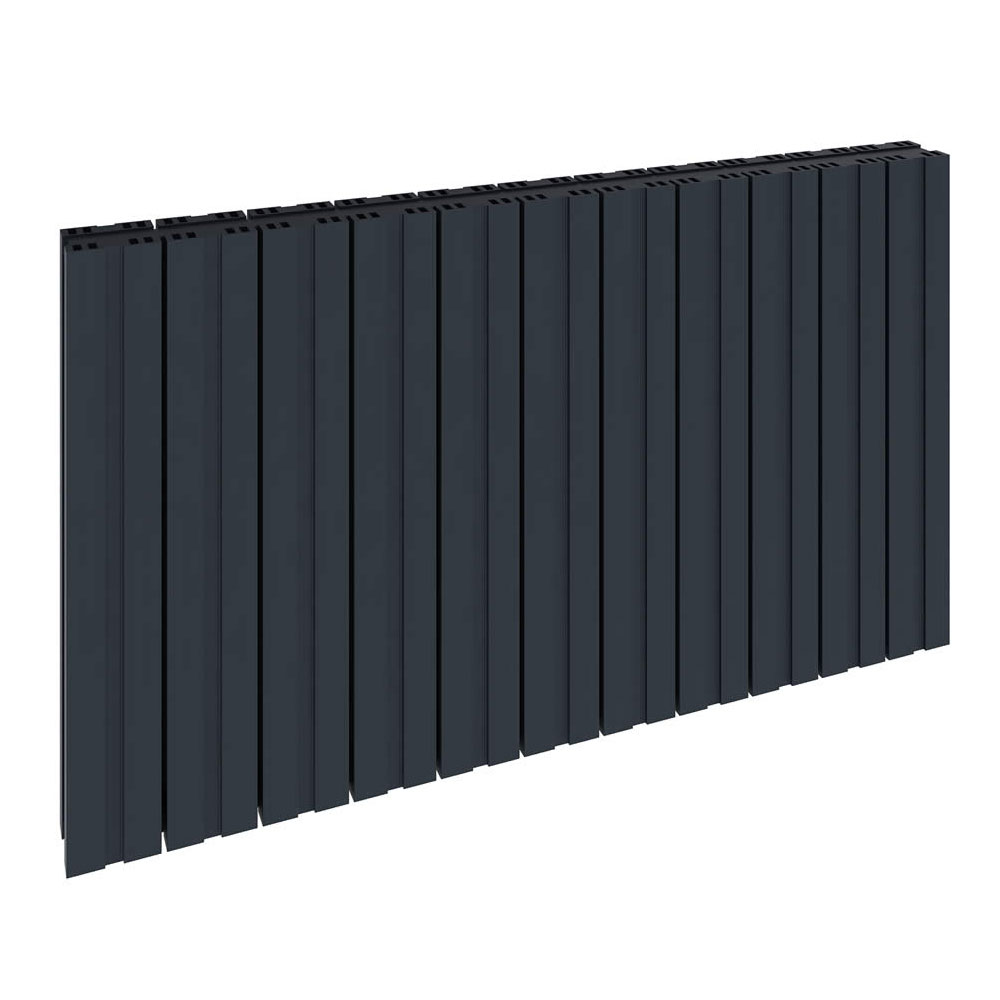 Reina Bova Horizontal Single Panel Aluminium Radiator - Anthracite Large Image