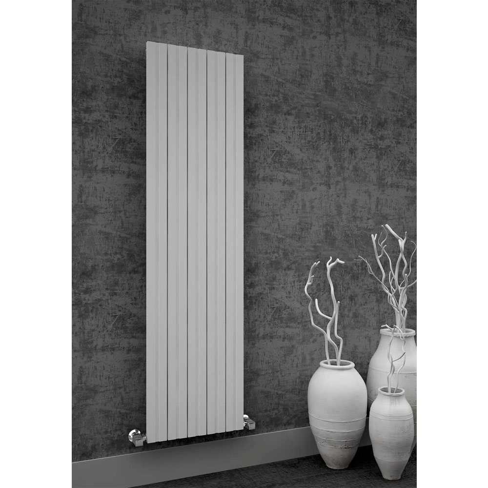 Reina Bova Vertical Double Panel Aluminium Radiator - White Profile Large Image