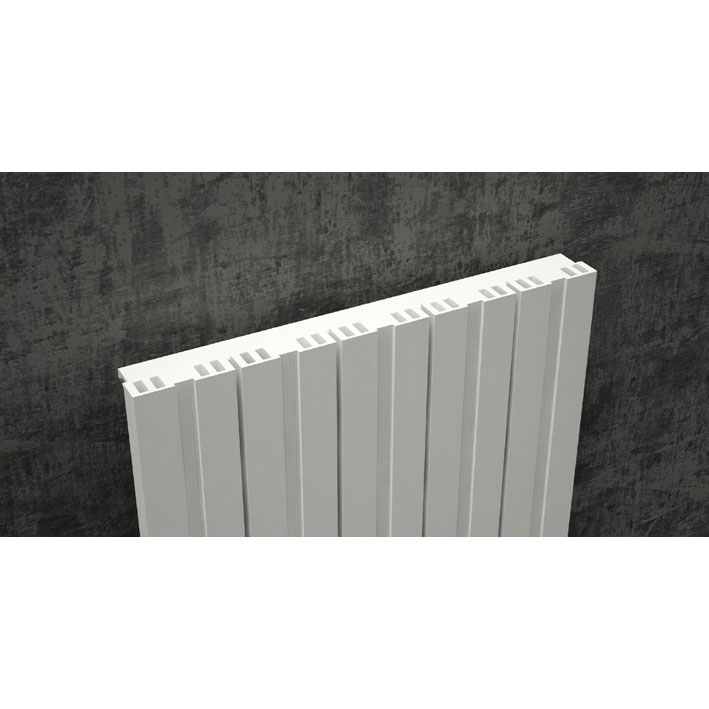 Reina Bova Vertical Single Panel Aluminium Radiator - White profile large image view 3