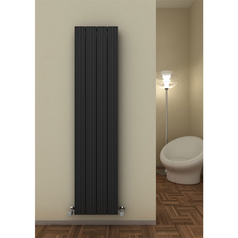 Reina Enzo Vertical Aluminium Radiator - Black Profile Large Image