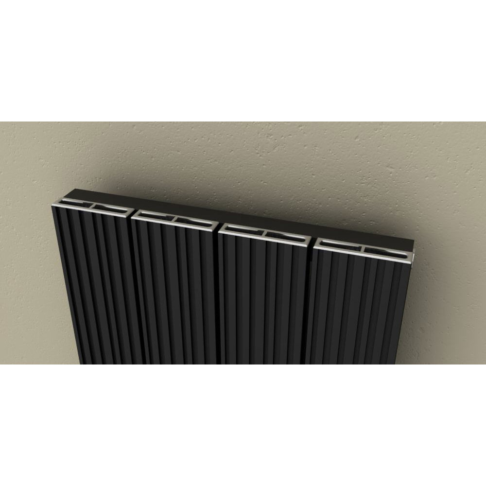 Reina Enzo Vertical Aluminium Radiator - Black Feature Large Image