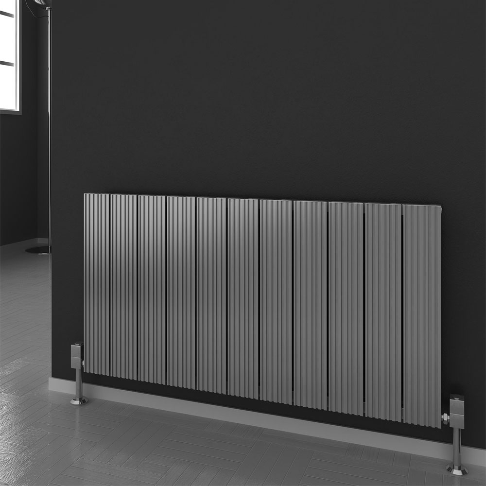 Reina Enzo Horizontal Aluminium Radiator - Polished profile large image view 2