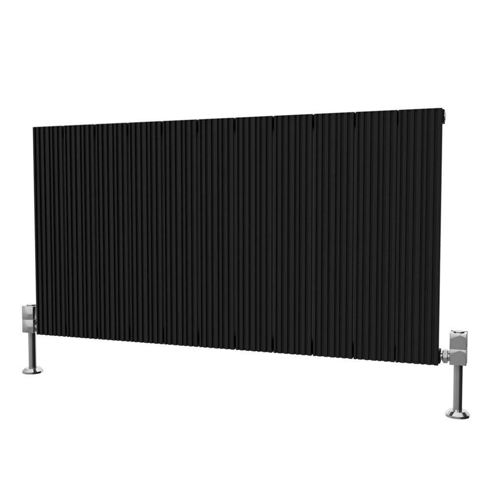 Reina Enzo Horizontal Aluminium Radiator - Black Large Image