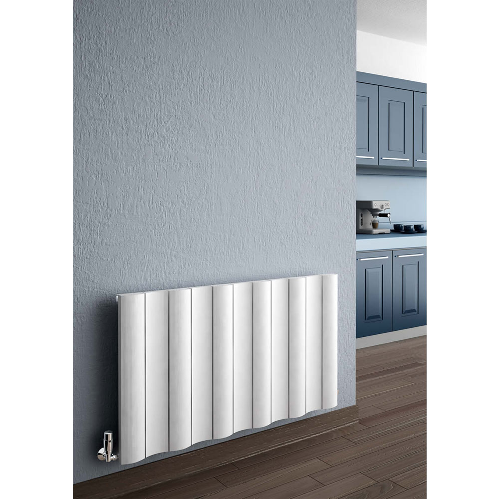 Reina Gio Horizontal Double Panel Aluminium Radiator - White profile large image view 2