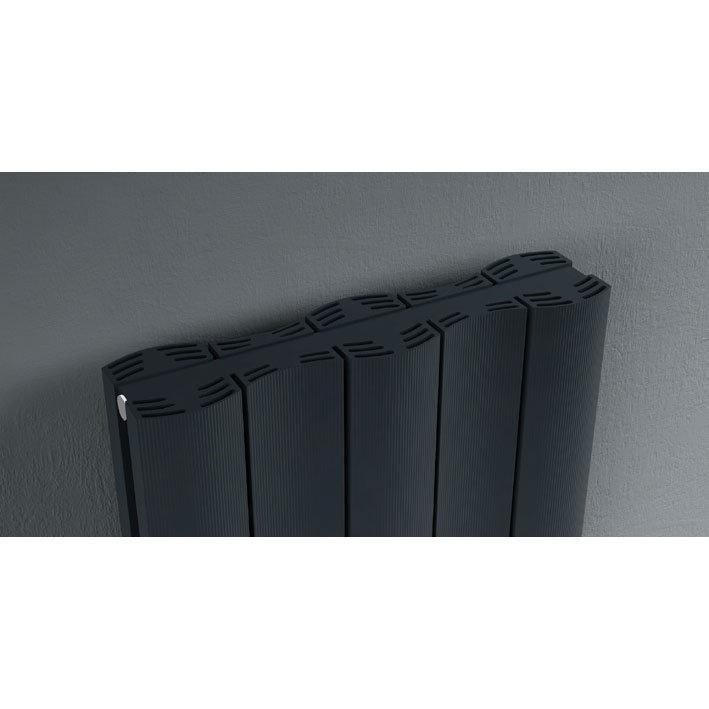Reina Gio Vertical Double Panel Aluminium Radiator - Anthracite Feature Large Image
