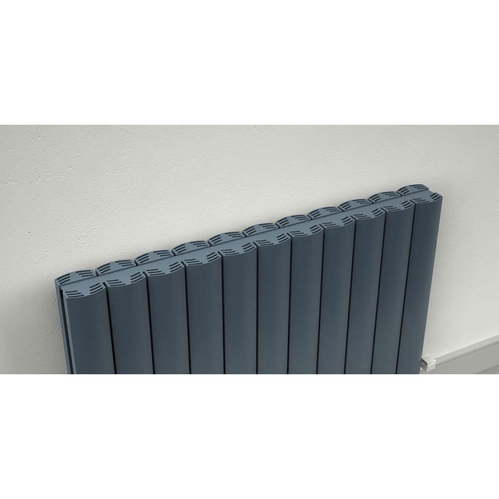 Reina Greco Horizontal Double Panel Aluminium Radiator - Polished profile large image view 3