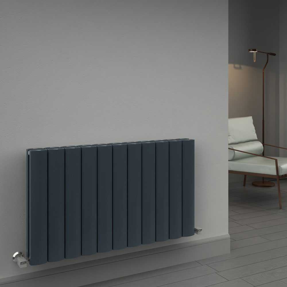Reina Greco Horizontal Single Panel Aluminium Radiator - Polished profile large image view 2